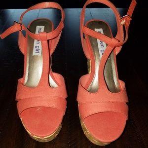 "Madden Girl ""Heidi"" coral wedge sandal"
